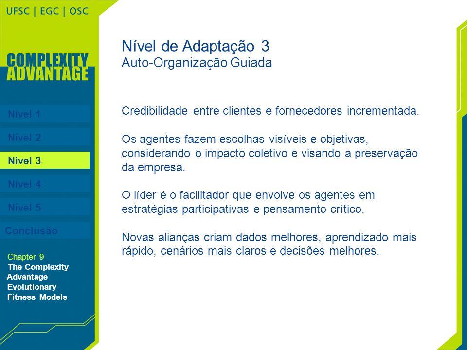 Nível 1 Nível 2 Nível 3 Nível 4 Nível 5 Chapter 9 The Complexity Advantage Evolutionary Fitness Models Nível de Adaptação 3 Auto-Organização Guiada Cr