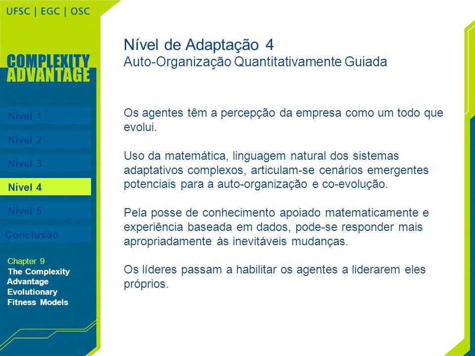 Nível 1 Nível 2 Nível 3 Nível 4 Nível 5 Chapter 9 The Complexity Advantage Evolutionary Fitness Models Os agentes têm a percepção da empresa como um t