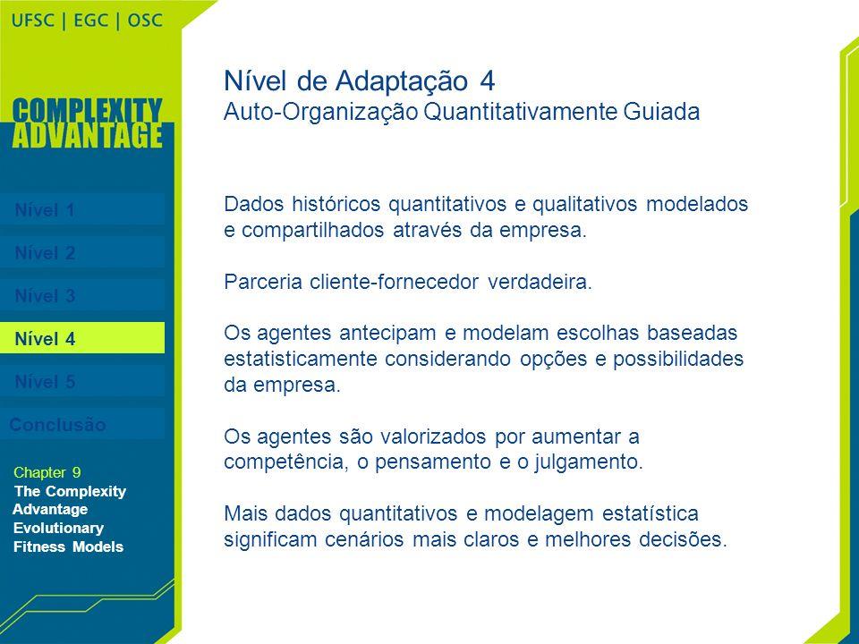 Nível 1 Nível 2 Nível 3 Nível 4 Nível 5 Chapter 9 The Complexity Advantage Evolutionary Fitness Models Nível de Adaptação 4 Auto-Organização Quantitat