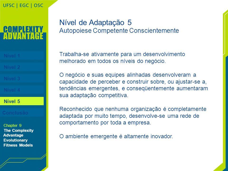 Nível 1 Nível 2 Nível 3 Nível 4 Nível 5 Chapter 9 The Complexity Advantage Evolutionary Fitness Models Nível de Adaptação 5 Autopoiese Competente Cons