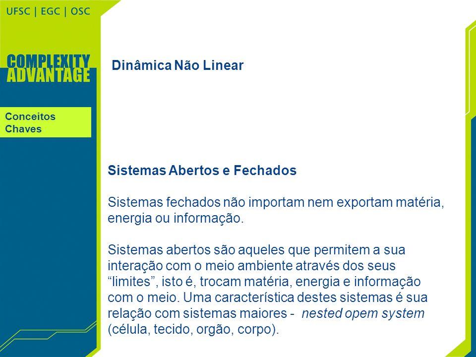 Conceitos Chaves Dinâmica Não Linear Sistemas Abertos e Fechados Sistemas fechados não importam nem exportam matéria, energia ou informação. Sistemas