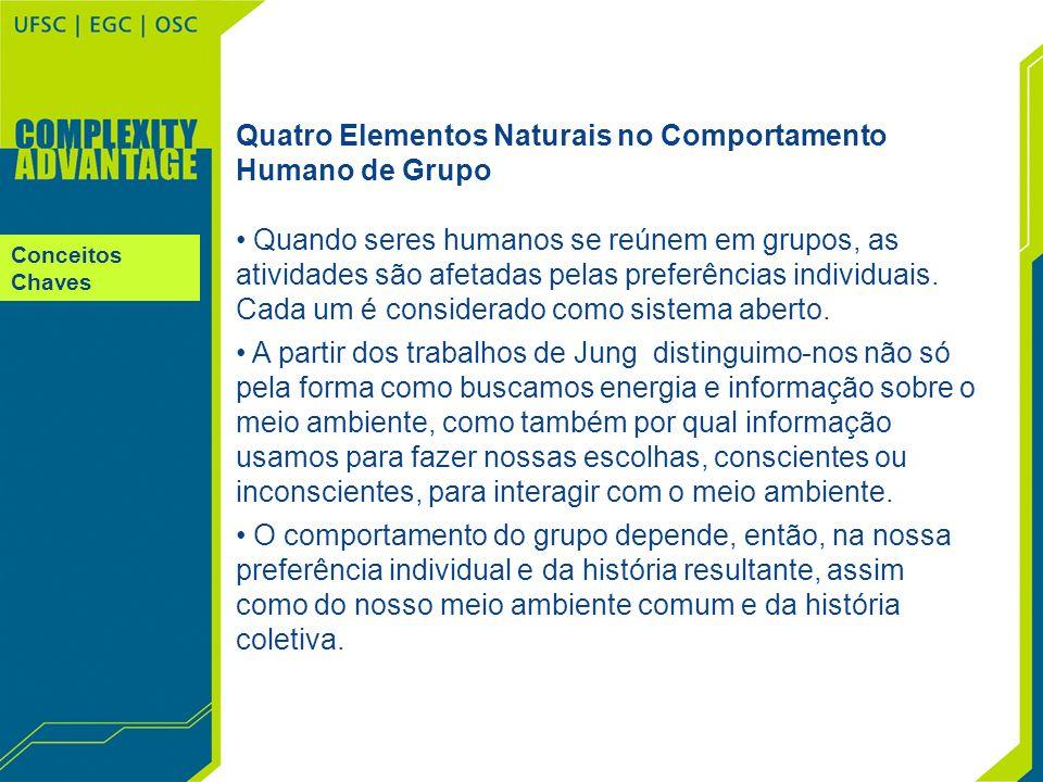 Conceitos Chaves Quatro Elementos Naturais no Comportamento Humano de Grupo Quando seres humanos se reúnem em grupos, as atividades são afetadas pelas