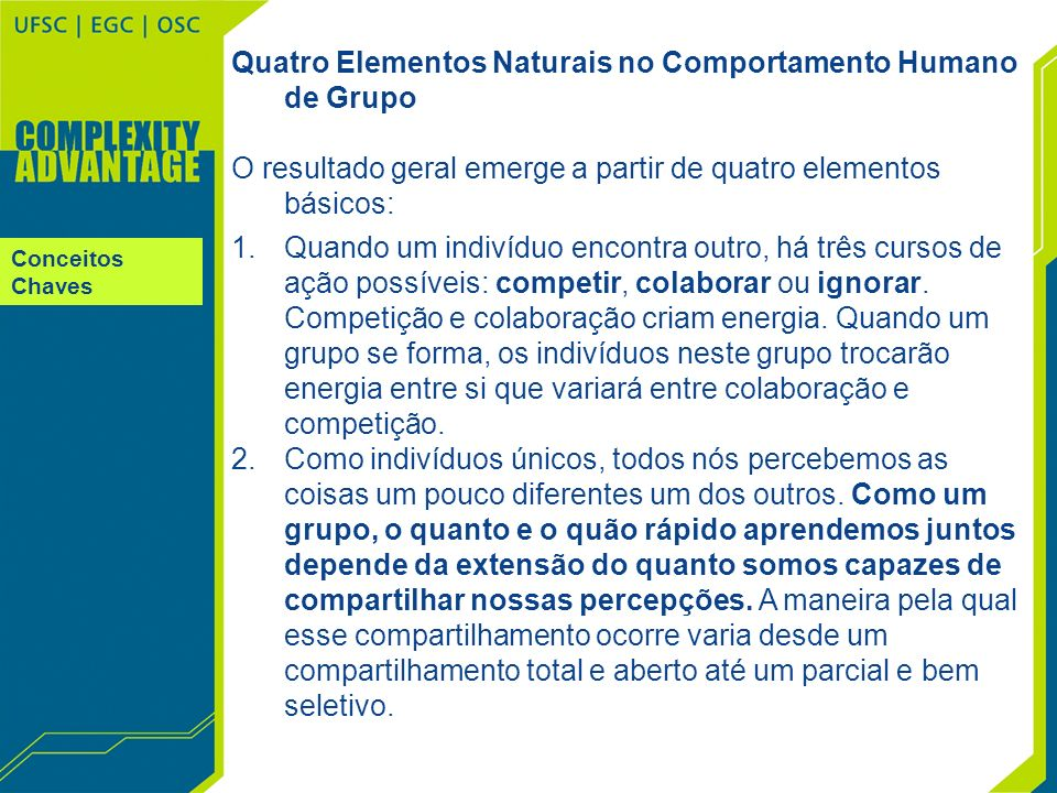 Nível 1 Nível 2 Nível 3 Nível 4 Nível 5 Chapter 9 The Complexity Advantage Evolutionary Fitness Models Nível de Adaptação 5 Autopoiese Competente Conscientemente Trabalha-se ativamente para um desenvolvimento melhorado em todos os níveis do negócio.