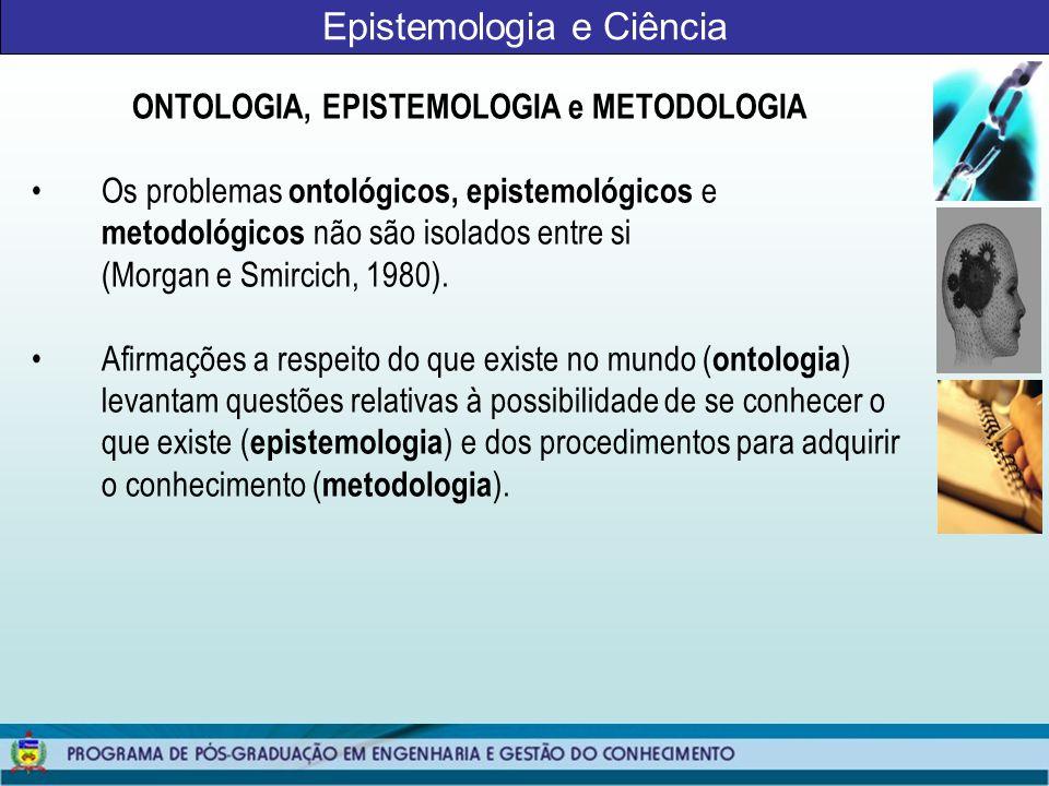 Epistemologia e Ciência QUESTÕES METODOLÓGICAS A fenomenologia ressalta a idéia de que o mundo é criado pela consciência, o que implica o reconhecimento da importância do sujeito no processo da construção do conhecimento (Gil, 1999).