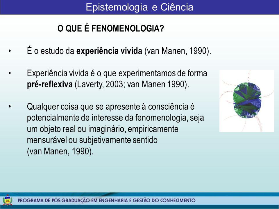 Epistemologia e Ciência QUESTÕES METODOLÓGICAS A fenomenologia como um método está longe de ter uma abordagem única (LeVasseur, 2003).