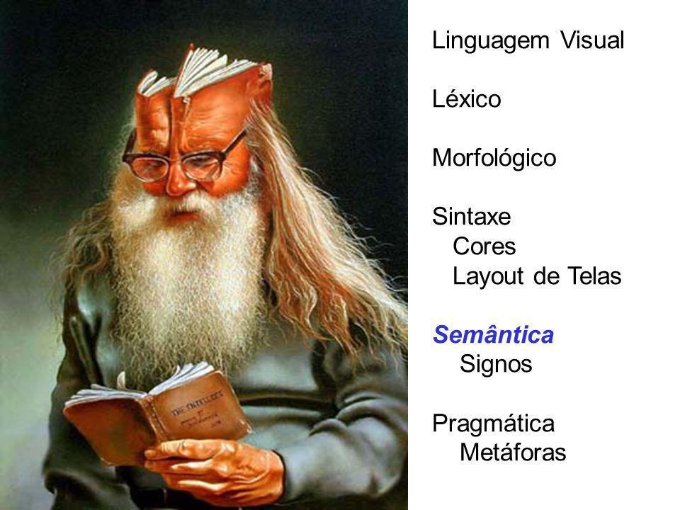 SEMÂNTICA VISUAL Os objetos visuais que se relacionam uns com os outros dentro de um sistema podem ter uma gram á tica, regras que podem ser estudadas por analogias.