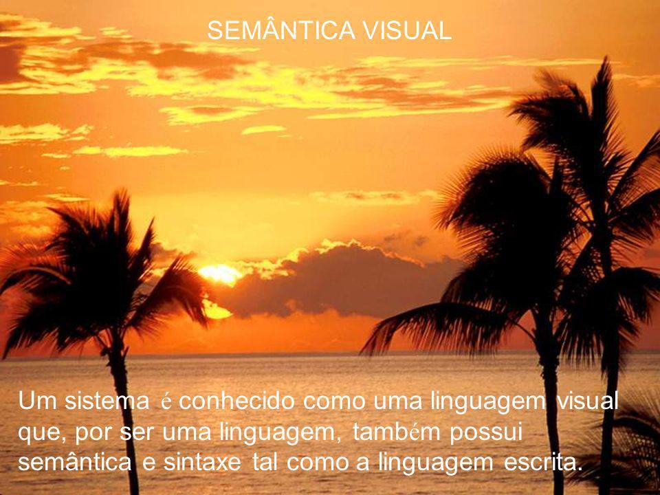 SEMÂNTICA VISUAL Particularmente, a semântica visual conduz o significado atrav é s do uso da apresenta ç ão da imagem.