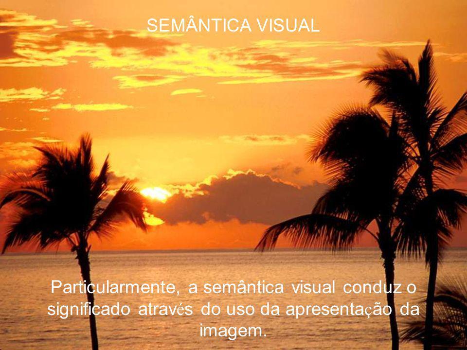 SEMÂNTICA VISUAL Os signos são os elementos que exprimem id é ias e provocam na mente daqueles que os percebe uma atitude interpretativa (Joly, 1996)