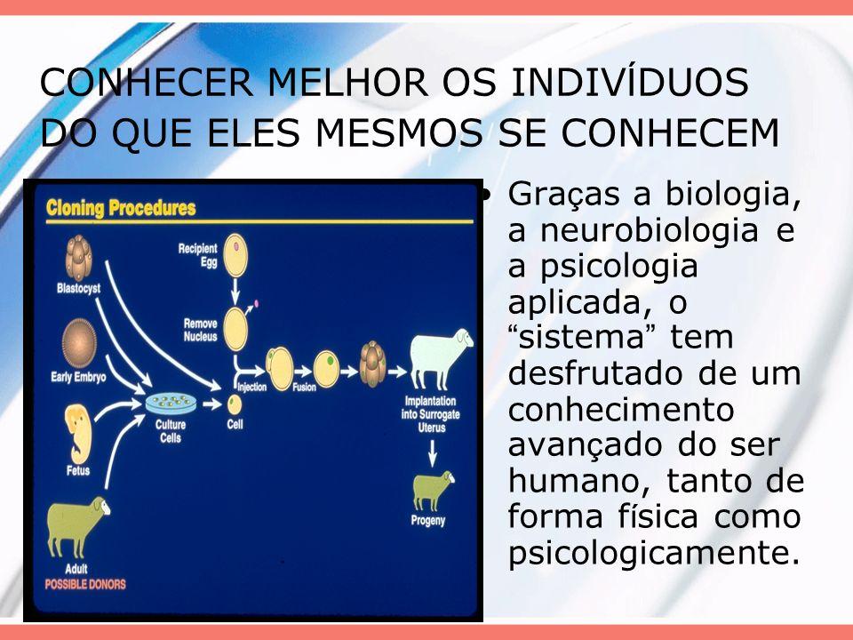 CONHECER MELHOR OS INDIV Í DUOS DO QUE ELES MESMOS SE CONHECEM Gra ç as a biologia, a neurobiologia e a psicologia aplicada, o sistema tem desfrutado