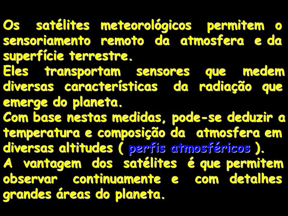 Os satélites meteorológicos permitem o sensoriamento remoto da atmosfera e da superfície terrestre. Eles transportam sensores que medem diversas carac