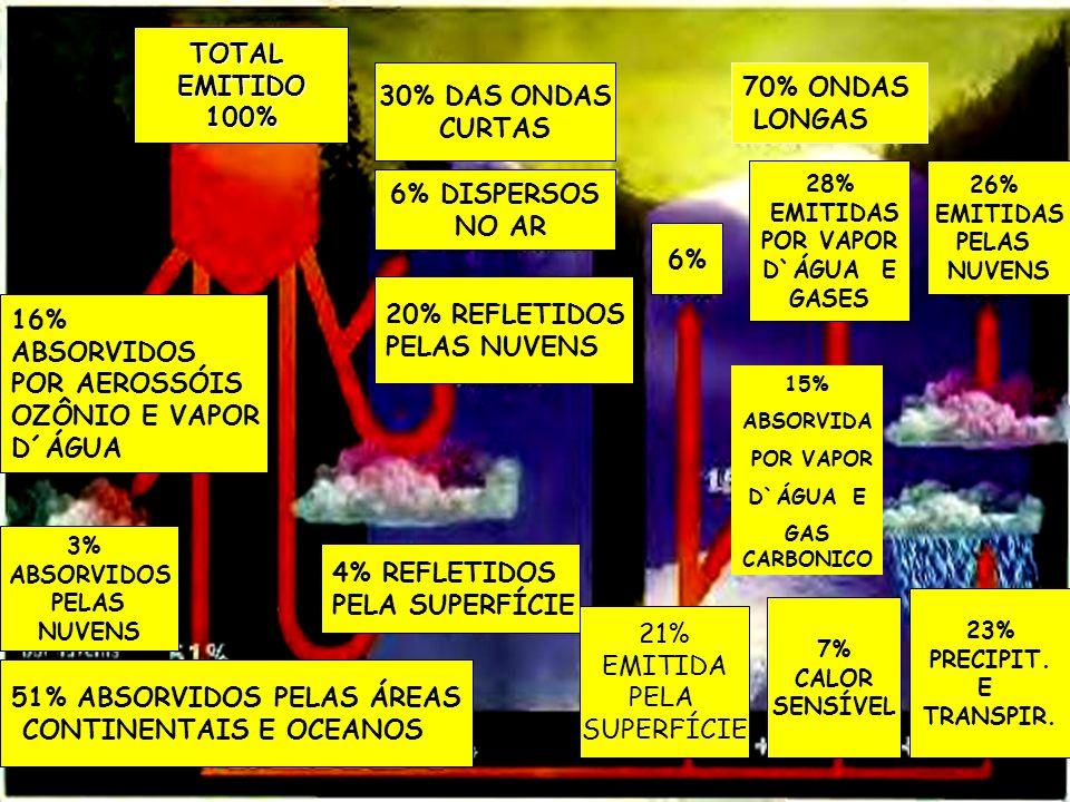 TOTALEMITIDO100% 30% DAS ONDAS CURTAS 6% DISPERSOS NO AR 20% REFLETIDOS PELAS NUVENS 4% REFLETIDOS PELA SUPERFÍCIE 16% ABSORVIDOS POR AEROSSÓIS OZÔNIO