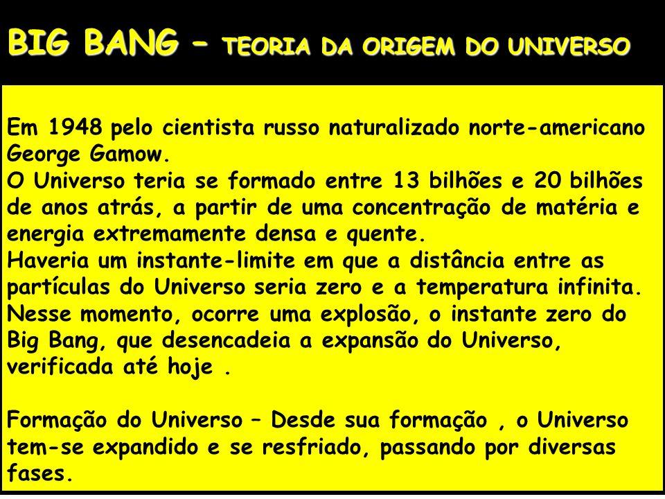 BIG BANG – TEORIA DA ORIGEM DO UNIVERSO Em 1948 pelo cientista russo naturalizado norte-americano George Gamow. O Universo teria se formado entre 13 b