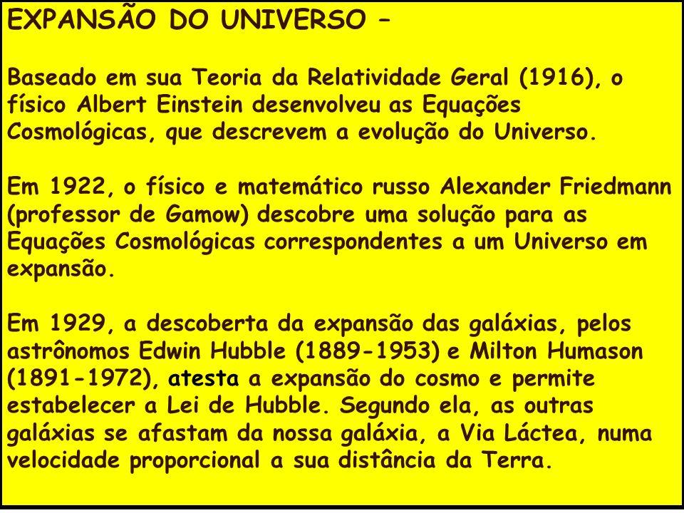 EXPANSÃO DO UNIVERSO – Baseado em sua Teoria da Relatividade Geral (1916), o físico Albert Einstein desenvolveu as Equações Cosmológicas, que descreve