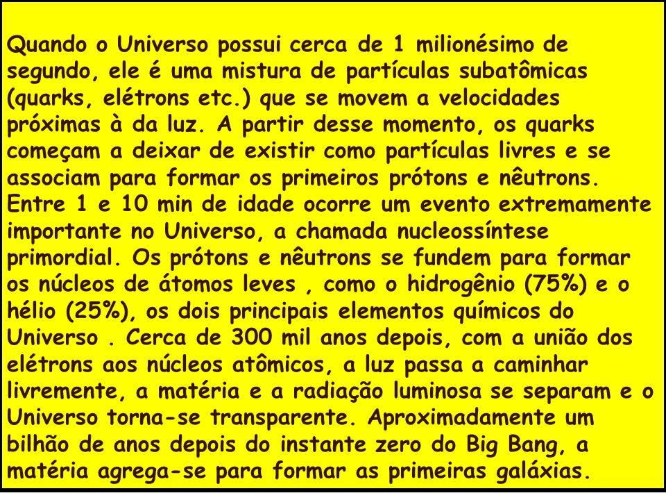 Quando o Universo possui cerca de 1 milionésimo de segundo, ele é uma mistura de partículas subatômicas (quarks, elétrons etc.) que se movem a velocid