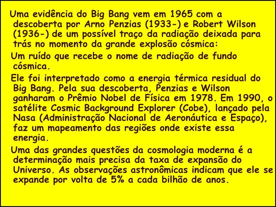 Uma evidência do Big Bang vem em 1965 com a descoberta por Arno Penzias (1933-) e Robert Wilson (1936-) de um possível traço da radiação deixada para