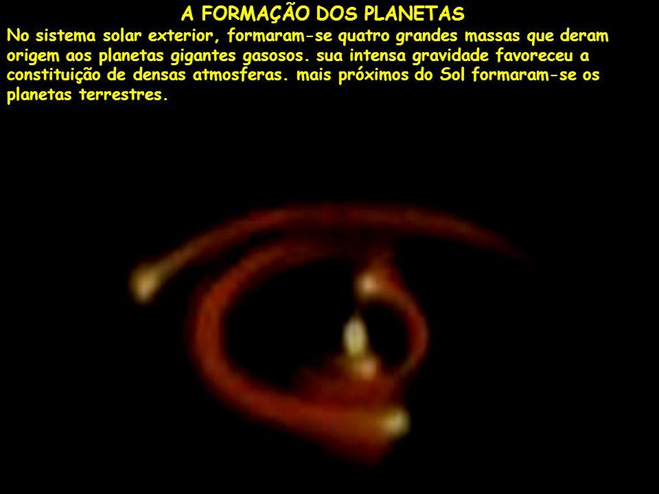 A FORMAÇÃO DOS PLANETAS No sistema solar exterior, formaram-se quatro grandes massas que deram origem aos planetas gigantes gasosos. sua intensa gravi