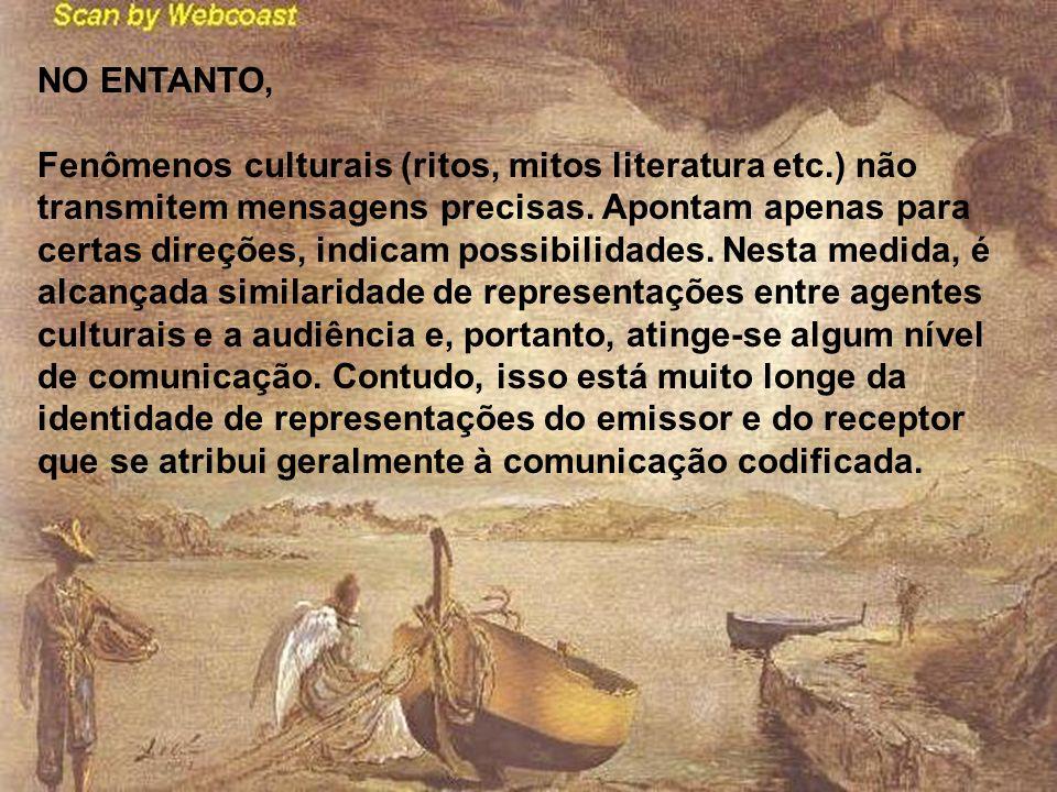 NO ENTANTO, Fenômenos culturais (ritos, mitos literatura etc.) não transmitem mensagens precisas. Apontam apenas para certas direções, indicam possibi