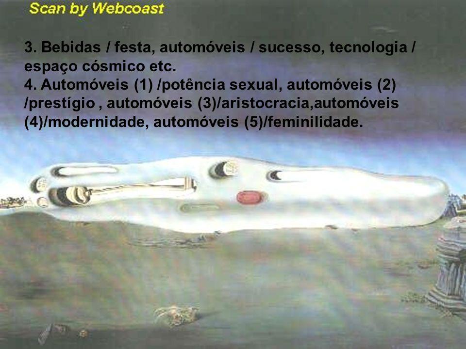 3. Bebidas / festa, automóveis / sucesso, tecnologia / espaço cósmico etc. 4. Automóveis (1) /potência sexual, automóveis (2) /prestígio, automóveis (