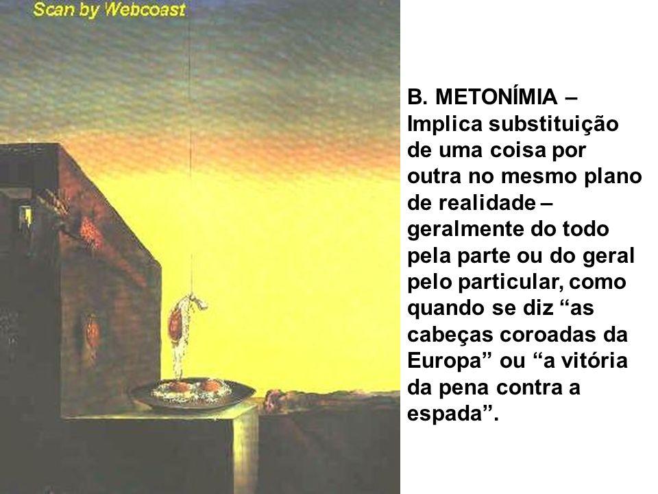B. METONÍMIA – Implica substituição de uma coisa por outra no mesmo plano de realidade – geralmente do todo pela parte ou do geral pelo particular, co