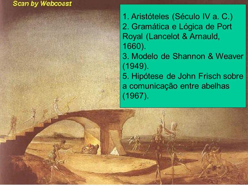 1. Aristóteles (Século IV a. C.) 2. Gramática e Lógica de Port Royal (Lancelot & Arnauld, 1660). 3. Modelo de Shannon & Weaver (1949). 5. Hipótese de