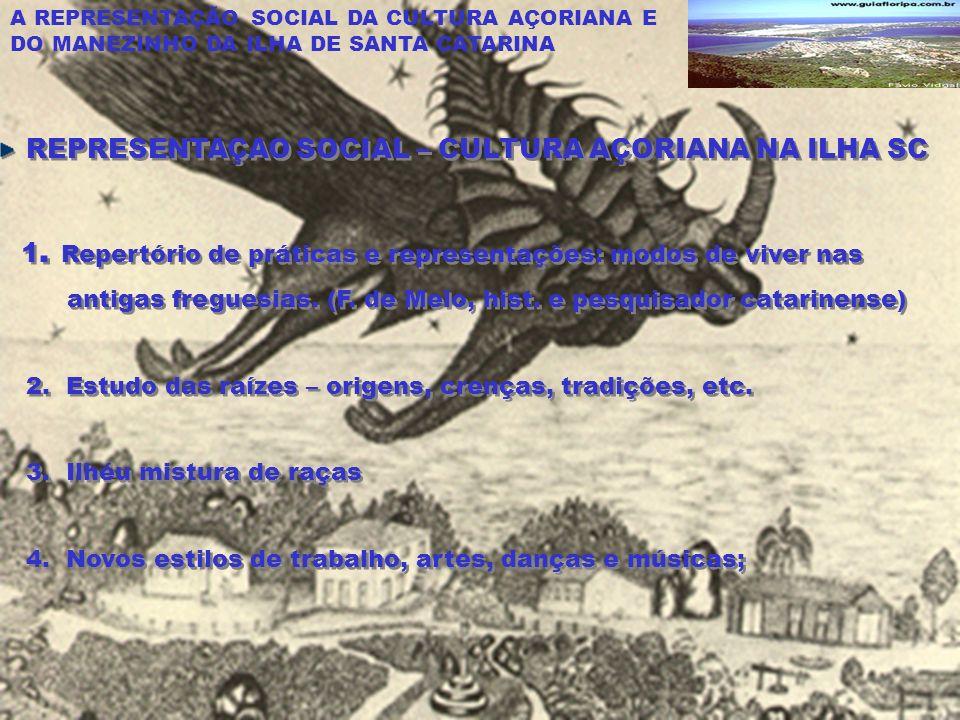 A REPRESENTAÇÃO SOCIAL DA CULTURA AÇORIANA E DO MANEZINHO DA ILHA DE SANTA CATARINA REPRESENTAÇAO SOCIAL – CULTURA AÇORIANA NA ILHA SC 1.