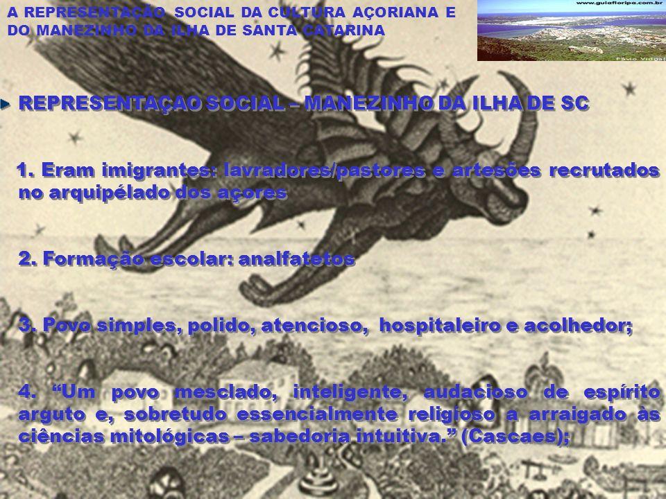 A REPRESENTAÇÃO SOCIAL DA CULTURA AÇORIANA E DO MANEZINHO DA ILHA DE SANTA CATARINA REPRESENTAÇAO SOCIAL – MANEZINHO DA ILHA DE SC 1.