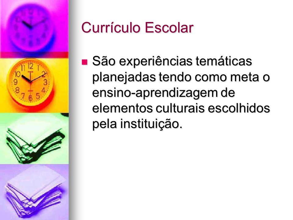 Currículo Escolar São experiências temáticas planejadas tendo como meta o ensino-aprendizagem de elementos culturais escolhidos pela instituição.