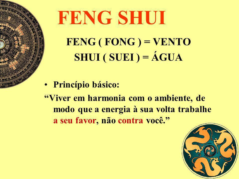 FENG SHUI FENG ( FONG ) = VENTO SHUI ( SUEI ) = ÁGUA Princípio básico: Viver em harmonia com o ambiente, de modo que a energia à sua volta trabalhe a
