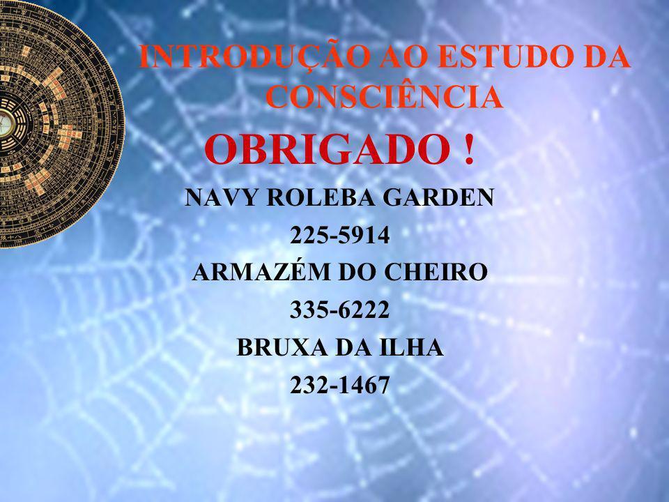 INTRODUÇÃO AO ESTUDO DA CONSCIÊNCIA OBRIGADO ! NAVY ROLEBA GARDEN 225-5914 ARMAZÉM DO CHEIRO 335-6222 BRUXA DA ILHA 232-1467