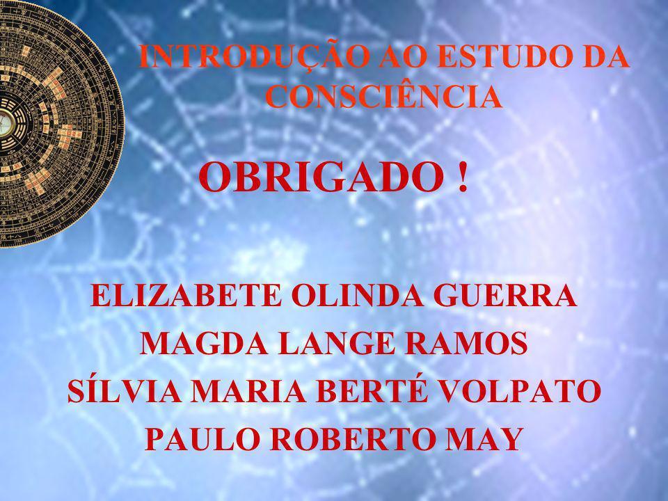 INTRODUÇÃO AO ESTUDO DA CONSCIÊNCIA OBRIGADO ! ELIZABETE OLINDA GUERRA MAGDA LANGE RAMOS SÍLVIA MARIA BERTÉ VOLPATO PAULO ROBERTO MAY