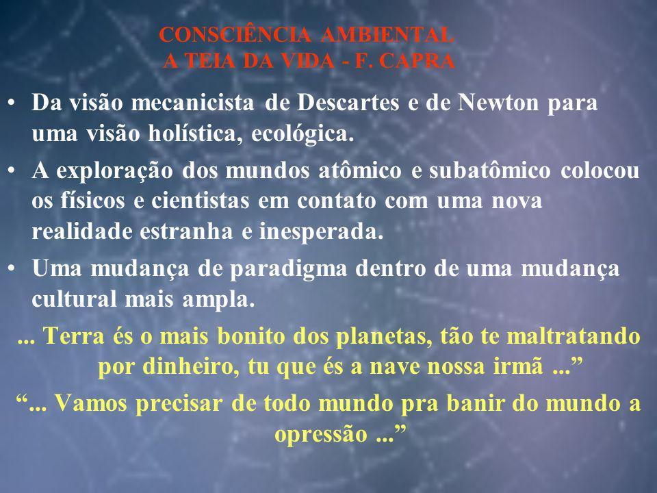 CONSCIÊNCIA AMBIENTAL A TEIA DA VIDA - F. CAPRA Da visão mecanicista de Descartes e de Newton para uma visão holística, ecológica. A exploração dos mu