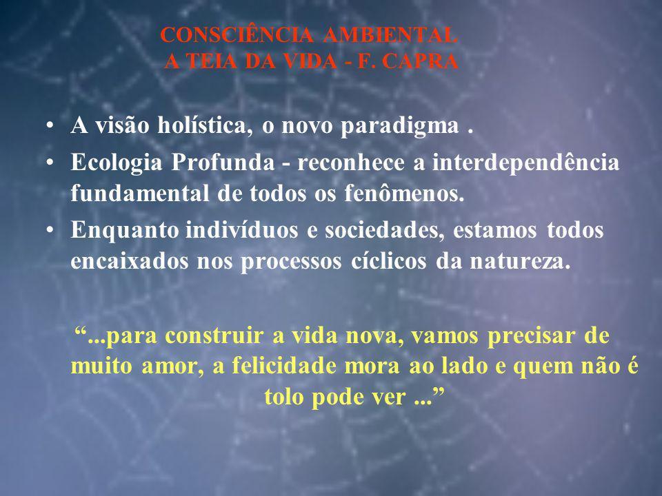 CONSCIÊNCIA AMBIENTAL A TEIA DA VIDA - F. CAPRA A visão holística, o novo paradigma. Ecologia Profunda - reconhece a interdependência fundamental de t