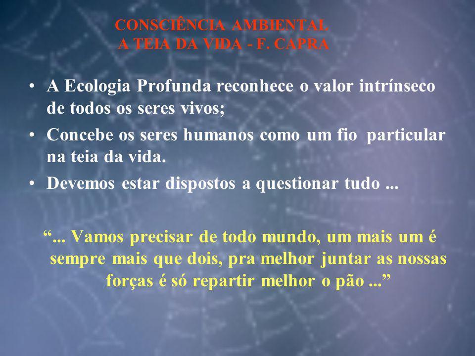 CONSCIÊNCIA AMBIENTAL A TEIA DA VIDA - F. CAPRA A Ecologia Profunda reconhece o valor intrínseco de todos os seres vivos; Concebe os seres humanos com