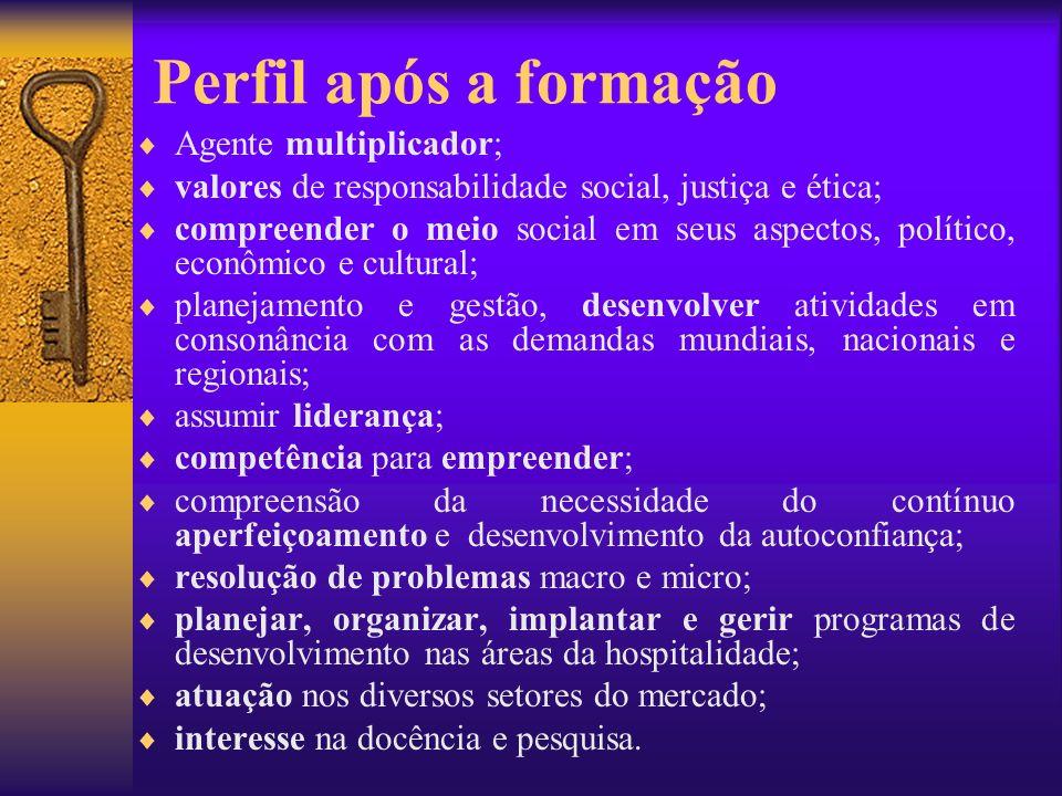 Perfil após a formação Agente multiplicador; valores de responsabilidade social, justiça e ética; compreender o meio social em seus aspectos, político