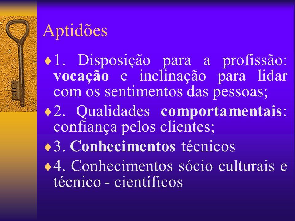 Aptidões 1. Disposição para a profissão: vocação e inclinação para lidar com os sentimentos das pessoas; 2. Qualidades comportamentais: confiança pelo