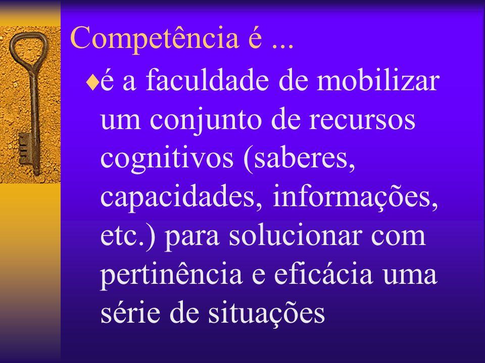 Competência é... é a faculdade de mobilizar um conjunto de recursos cognitivos (saberes, capacidades, informações, etc.) para solucionar com pertinênc