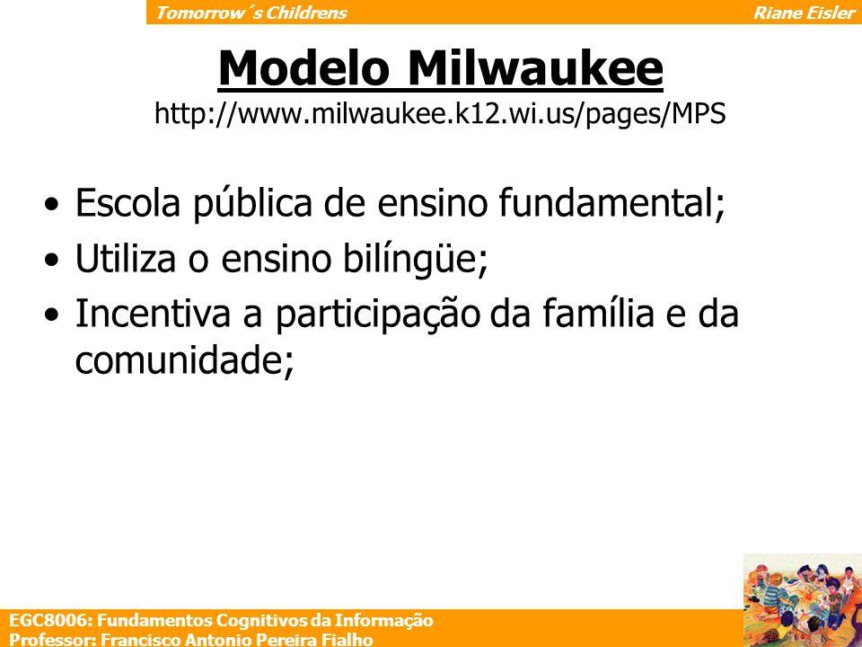 Modelo Milwaukee http://www.milwaukee.k12.wi.us/pages/MPS Escola pública de ensino fundamental; Utiliza o ensino bilíngüe; Incentiva a participação da