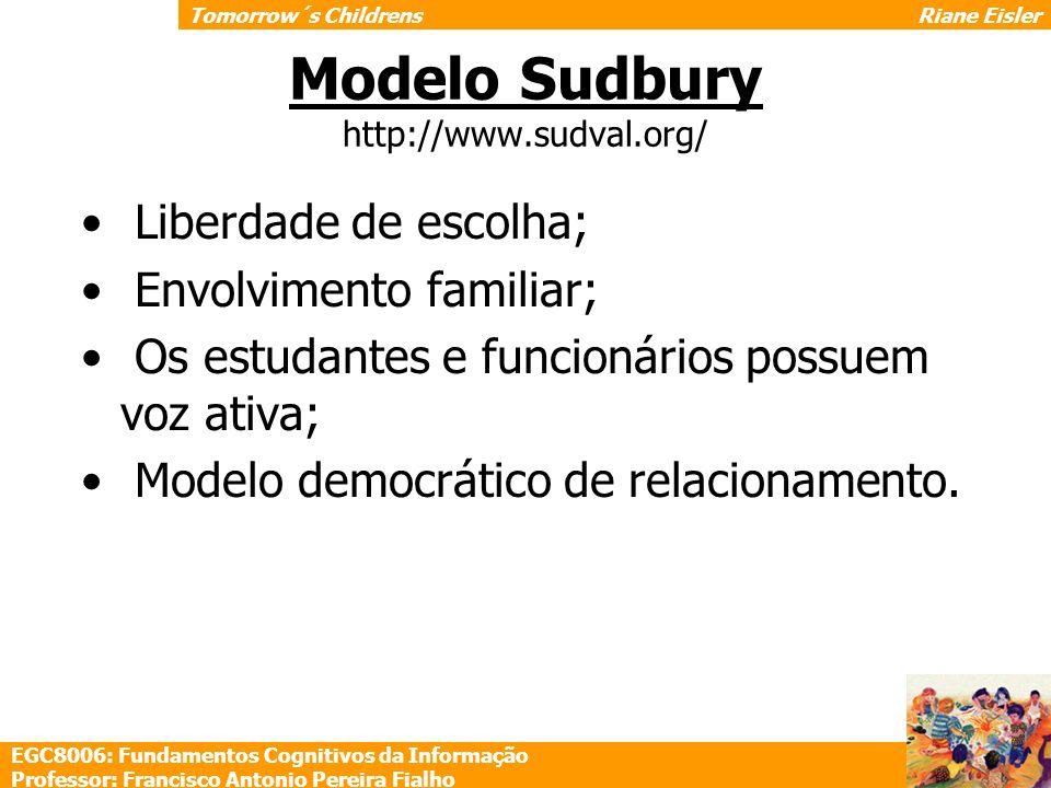 Modelo Sudbury http://www.sudval.org/ Liberdade de escolha; Envolvimento familiar; Os estudantes e funcionários possuem voz ativa; Modelo democrático