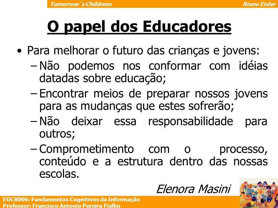 O papel dos Educadores Para melhorar o futuro das crianças e jovens: –Não podemos nos conformar com idéias datadas sobre educação; –Encontrar meios de