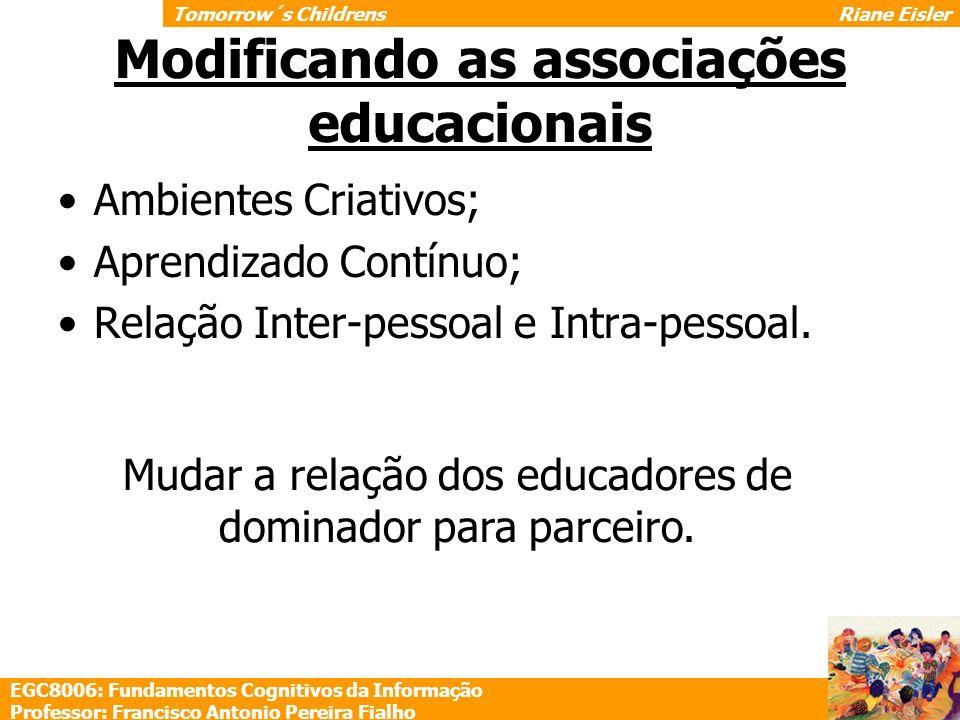 Modificando as associações educacionais Ambientes Criativos; Aprendizado Contínuo; Relação Inter-pessoal e Intra-pessoal. Mudar a relação dos educador