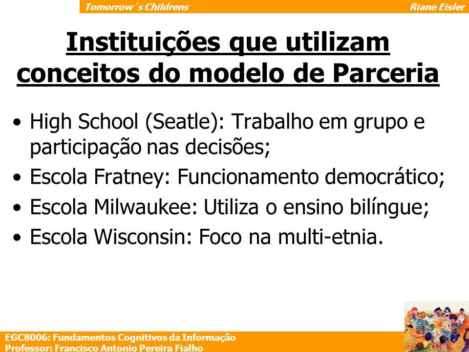 Instituições que utilizam conceitos do modelo de Parceria High School (Seatle): Trabalho em grupo e participação nas decisões; Escola Fratney: Funcion