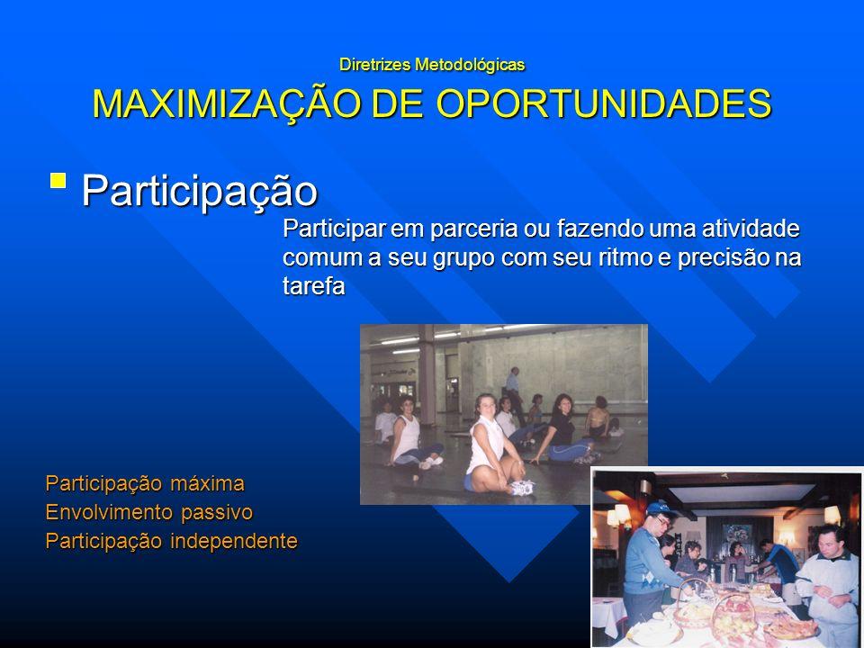 Diretrizes Metodológicas MAXIMIZAÇÃO DE OPORTUNIDADES Participação Participar em parceria ou fazendo uma atividade comum a seu grupo com seu ritmo e p