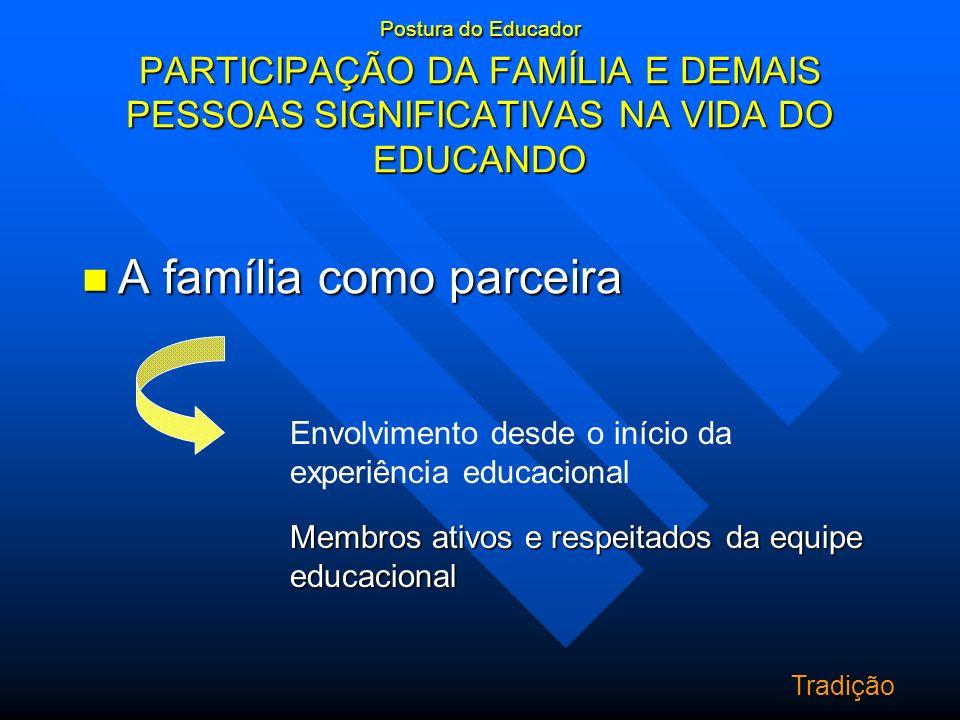 Postura do Educador PARTICIPAÇÃO DA FAMÍLIA E DEMAIS PESSOAS SIGNIFICATIVAS NA VIDA DO EDUCANDO A família como parceira A família como parceira Envolv