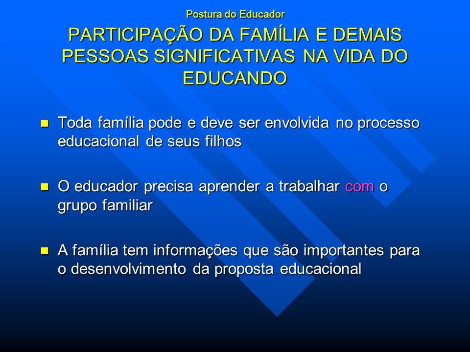 Postura do Educador PARTICIPAÇÃO DA FAMÍLIA E DEMAIS PESSOAS SIGNIFICATIVAS NA VIDA DO EDUCANDO Toda família pode e deve ser envolvida no processo edu