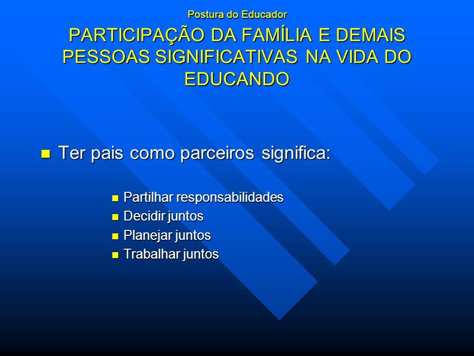 Postura do Educador PARTICIPAÇÃO DA FAMÍLIA E DEMAIS PESSOAS SIGNIFICATIVAS NA VIDA DO EDUCANDO Ter pais como parceiros significa: Ter pais como parce