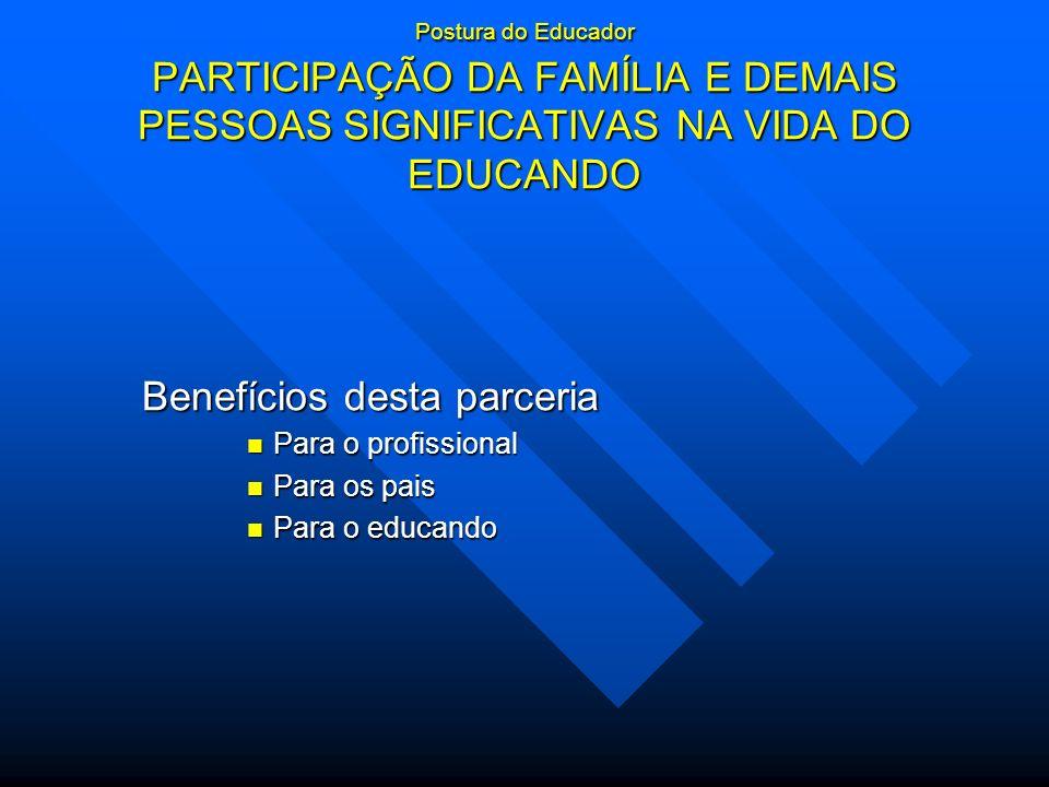 Postura do Educador PARTICIPAÇÃO DA FAMÍLIA E DEMAIS PESSOAS SIGNIFICATIVAS NA VIDA DO EDUCANDO Benefícios desta parceria Para o profissional Para o p