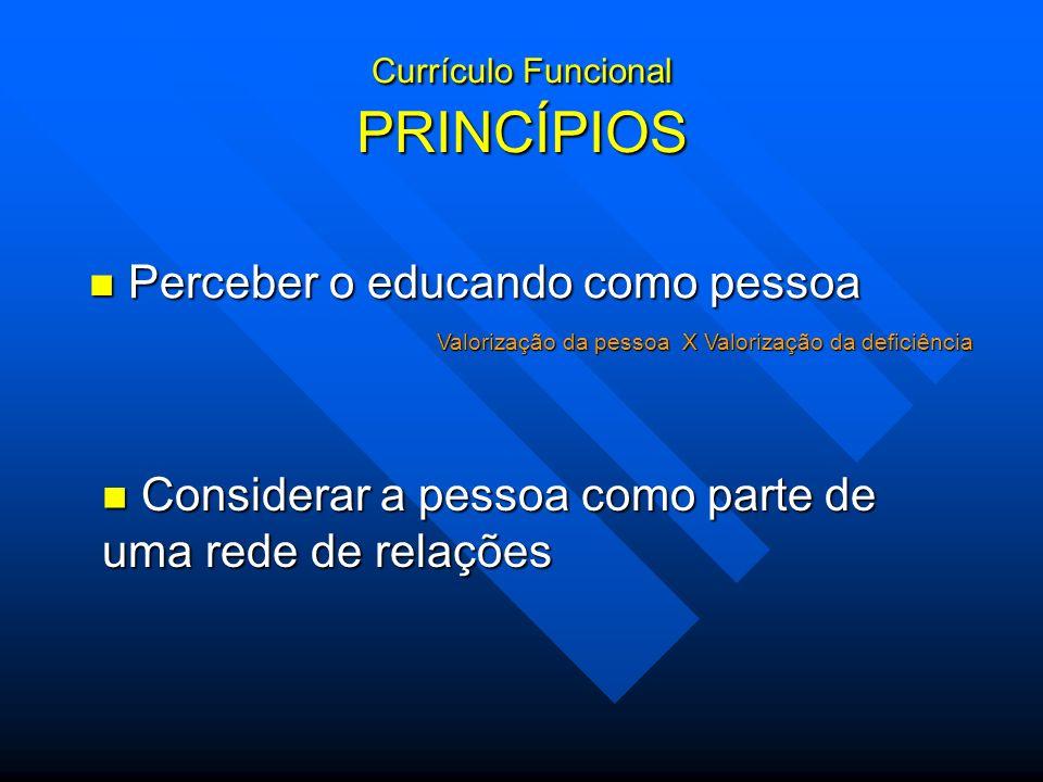 Currículo Funcional PRINCÍPIOS Perceber o educando como pessoa Perceber o educando como pessoa Valorização da pessoa X Valorização da deficiência Cons