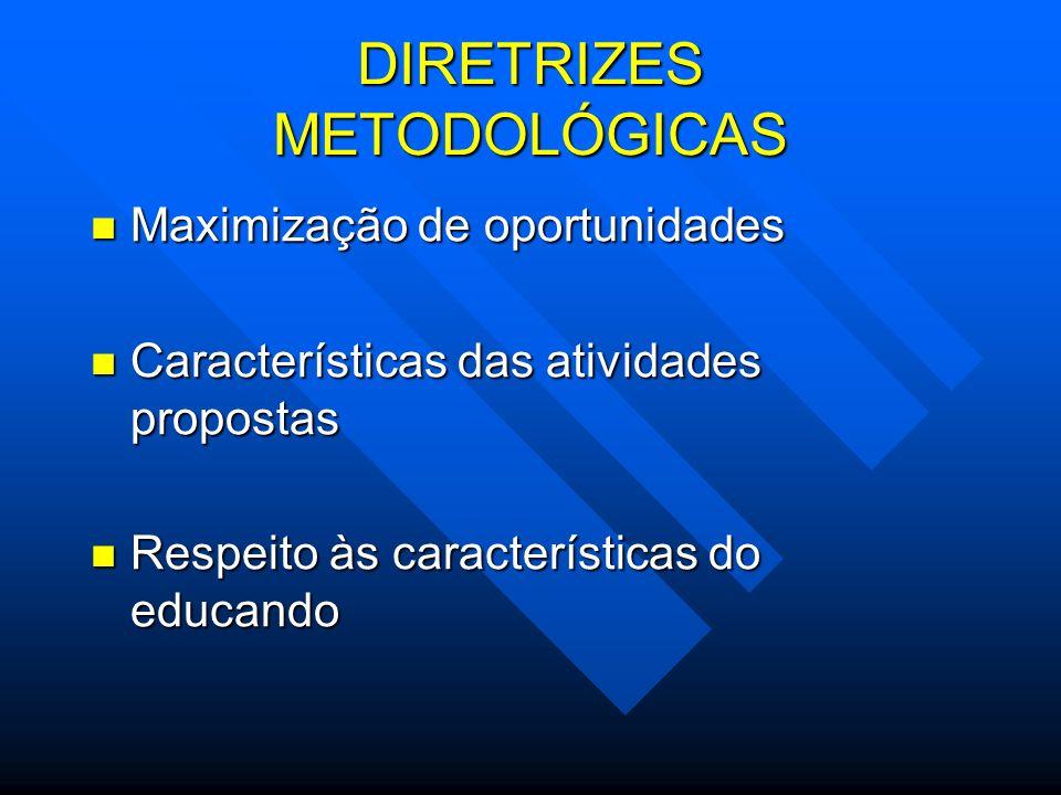 DIRETRIZES METODOLÓGICAS Maximização de oportunidades Maximização de oportunidades Características das atividades propostas Características das ativid