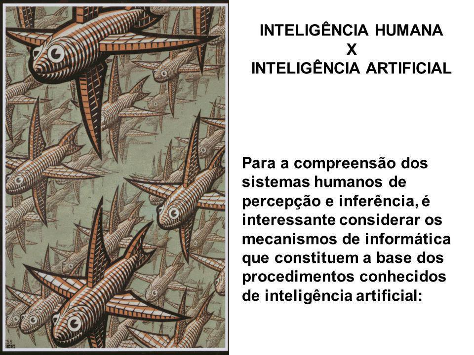 INTELIGÊNCIA HUMANA X INTELIGÊNCIA ARTIFICIAL Para a compreensão dos sistemas humanos de percepção e inferência, é interessante considerar os mecanism