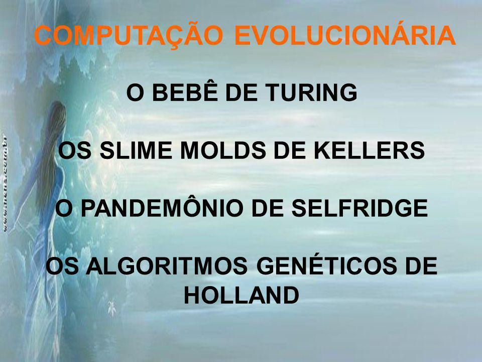 O BEBÊ DE TURING OS SLIME MOLDS DE KELLERS O PANDEMÔNIO DE SELFRIDGE OS ALGORITMOS GENÉTICOS DE HOLLAND COMPUTAÇÃO EVOLUCIONÁRIA